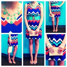 Chevron V-Neck Dress, $58.00