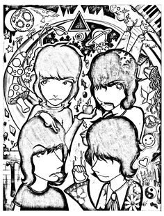 Beatles Adults Patterns Coloring Pages Pink Floyd