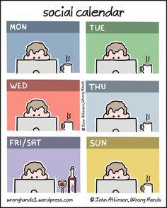 Calendario social 65 Funny Cartoons By Illustrator John Atkinson Law School Humor, Pa School, School Memes, Graduate School Humor, Funny School, Night School, School Life, Phd Comics, Phd Student
