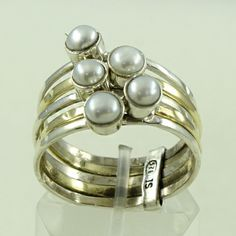 PEARL STONE AMAZING DESIGN 925 STERLING SILVER STACK RING #SilvexImagesIndia #Stackable