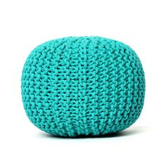 Knitted Turquoise Pouf