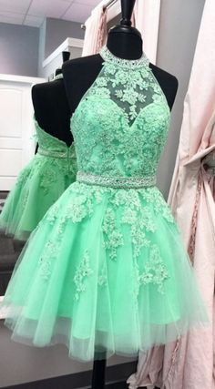 A line Homecoming Dresses, Green Prom Dresses, Short Homecoming Dresses With Applique Sleeveless Mini, Short Prom Dresses, A Line dresses, Short Homecoming Dresses, Prom Dresses Short, Princess Prom Dresses, Halter Prom Dresses, A Line Prom Dresses, Prom Short Dresses, Homecoming Dresses Short, Green Homecoming Dresses, Short Green dresses, Halter Homecoming Dresses, Green Short dresses