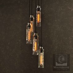 5 Light Recycled Bottle Chandelier - Voss Water Bottles - Modern Rustic Lighting - Custom Made Chandelier With Vintage Style Edison Bulbs Hanging Chandelier, Pendant Chandelier, Hanging Pendants, Hanging Lights, Chandelier Lighting, Modern Rustic Chandelier, Modern Rustic Decor, Rustic Lighting, Glass