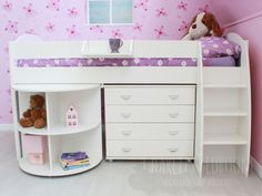 Stompa Rondo Cabin 5 Girls Midsleeper Bed, Stompa Midsleeper Beds, Kids Beds, Cheap Childrens Beds - Charlies Beds