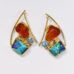 Boulder Opal & Mexican Opal Earring