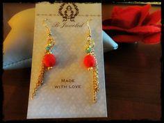 Handmade by B-Juweled  https://www.facebook.com/pages/B-Juweled/158467741010550?fref=ts  #jewels #handmade #earring #red #blue #gold #fashion #accessories #elegant