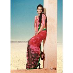 Pink Chiffon Printed Sarees Products by Eshan Traders - MESHA43933738890