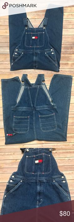 Tommy Hilfiger Vintage full length overalls. Tommy Hilfiger vintage full length overalls. Size Large. Waist about 16 inches, inseam 26 inches. Adjustable straps. Excellent clean condition.  **no modeling or trades** Tommy Hilfiger Jeans Overalls
