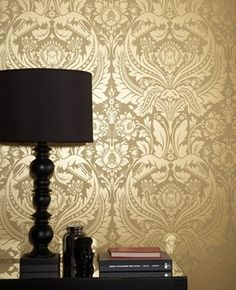 Mustard Gold Wallpaper for Accent wall in Master Bath.