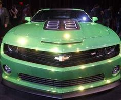 General Motors unveiled the Hot Wheels Chevy Camaro Concept, a life-sized recreation of one of the original Hot Wheels Toy Car designs from 1968. With an ionized metal tinted green Spectraflame paint job and Hot Wheels badging, the car is powered by a 6.2 liter LS3 V-8 and 6-speed manual transmission.