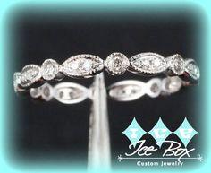Vintage Milgrain Diamond 14K White Gold Ribbon Band Wedding Anniversary Eternity