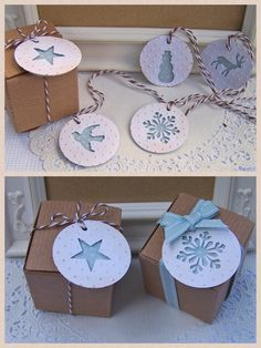Negative space Christmas tags, snowflake, snowman, star, deer, dove