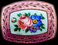 Czechoslovakian Hallmarked Dusty Rose Enamel Brooch