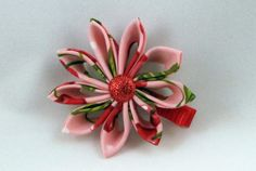 Cherry blossom Kanzashi flower hair clip accessory by RaggedyRAD, $4.00