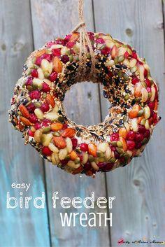 Looking for an easy Bird Feeder Kids Can Make? A beautiful Bird Feeder Wreath to decorate your yard and attract the birds. Perfect for a bird unit study Homemade Bird Feeders, Diy Bird Feeder, Bird Suet, Bird Seed Ornaments, Easy Bird, Bird House Kits, Easy Coffee, Bird Aviary, Ideas Hogar