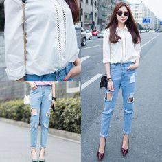Shalex - Shalex Cut Out Cotton Shirt, Shalex Boyfriend Jean With Rips, Shalex Leather Look Cross Body Bag - Casual Wear