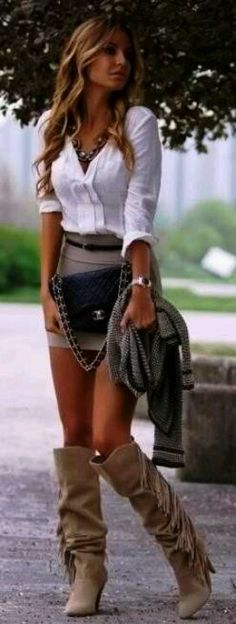so cute  skirt with boots