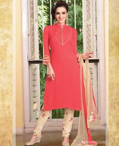 Buy Ideal Tomato Readymade Salwar Kameez online at  https://www.a1designerwear.com/ideal-tomato-readymade-salwar-kameez  Price: $89.25 USD