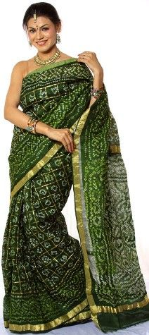 Green Bandhani Gharchola Sari from Gujarat