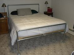 DIY galvanized steel pipe bed frame