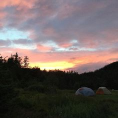 A pretty sweet #sunset over a pretty sweet  #camping spot in La Manche Provincial Park in #Newfoundland.
