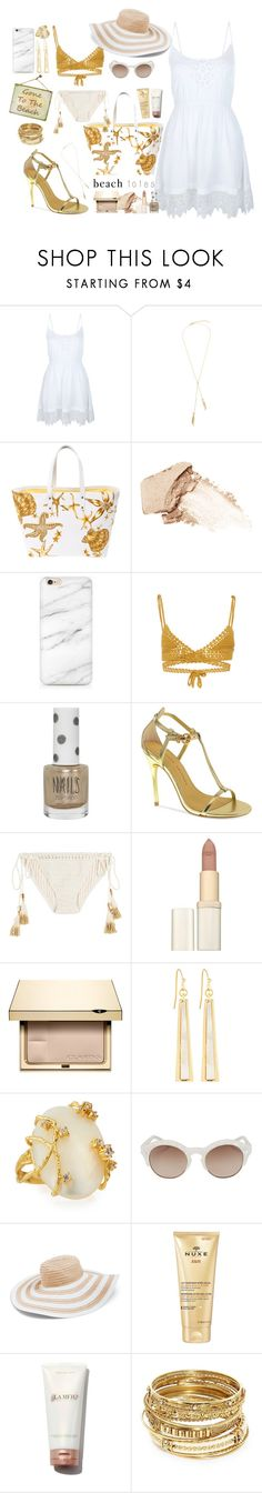 """Gone To The Beach"" by km-r7 ❤ liked on Polyvore featuring New Look, Versace, NARS Cosmetics, SHE MADE ME, Topshop, Chinese Laundry, L'Oréal Paris, Clarins, Fragments and Indulgems"