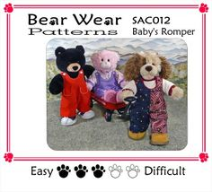 A cute little romper and shirt pattern for your teddy bear. This pattern fits most Build-a-Bear stuffed animals. Pajama Pattern, Romper Pattern, Build A Bear Clothes Pattern, Love Sewing, Sewing Tips, Sewing Crafts, Sewing Projects, Build A Bear Outfits, Teddy Bear Clothes