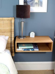 Floating Nightstand / Bedside Table in White Oak by KrovelMade Built In Furniture, Small Furniture, Home Furniture, Oak Nightstand, Floating Nightstand, Small Space Interior Design, Cool House Designs, White Oak, New Room