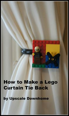 This is perfect for any little kid who loves Legos! It becomes a rotating art gallery for their Lego creations! Window Treatment Wednesday---Lego Curtain Tie Back #upscaledownhome #lego #boysroomideas #decorate