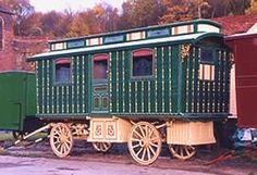 Horse drawn showman's wagon, maker unknown, a farm worker lived in it for many years. Then it was left in a garden in Cheshire for many more years until it was carefully restored 8 years ago.