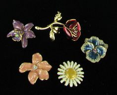 Set of Joan Rivers adaptable flower brooches #SYLink #jewelry