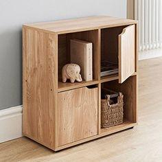 Oak Finish 4 Cube 2 Door Shelf Books CDs & DVDs Wooden Storage Display Unit