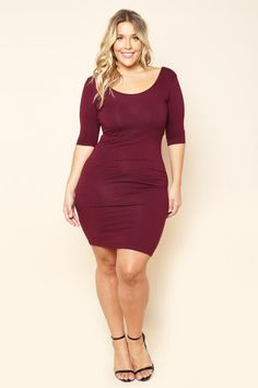 Plus Size Simple Solid Bodycon Dress Dresses+ GS-LOVE