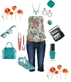 """Flowers & Teal"" by in2song on Polyvore"