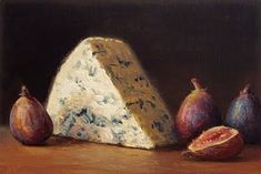 """Daily Paintworks - """"Bleu Cheese with Figs"""" - Original Fine Art for Sale - © Abbey Ryan"""