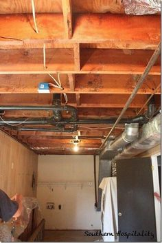 painting an industrial ceiling black Exposed Basement Ceiling, Basement Ceiling Insulation, Basement Ceiling Painted, Basement Ceiling Options, Drywall Ceiling, Ceiling Ideas, Open Basement, Basement Stairs, Basement Ideas