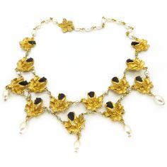 Vintage 1950s Gold Plated Faux Pearl Floral Glass Collar Necklace | Clarice Jewellery | Vintage Jewellery | Vintage Costume Jewellery