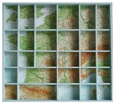 Inspiration: shadow box (letterbak) with map background. Link does't work, but the photo is clear enough.
