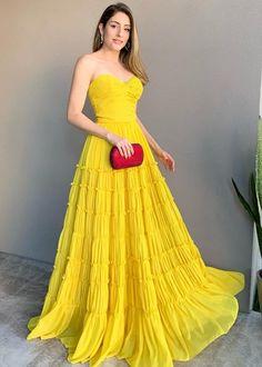 Vestido Longo Poá detalhe Viés Cor Azul e Amarelo Fassin