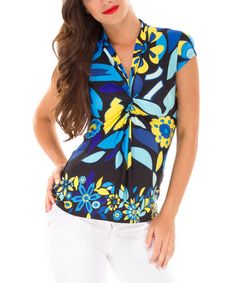 Take a look at this Blue & Yellow Floral Maternity Cap-Sleeve Top by Olian on #zulily today!