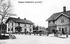 Frogner Meieri og Landhandel i Sørum  kommune. Landhandel til venstre ble drevet av Arvid Holter på 1940-1980-tallet. Bildet er tatt før 1918.