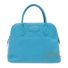 Hermes Bolide Bag 31 Turquoise Blue Clemence Leather Silver Hardware 60526b57a493d
