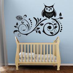 Owl On Flowers Wall Art Sticker 34