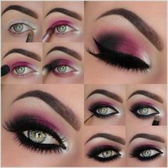Image via How to Apply Smokey Eyeshadow Step by Step Image via See make-up ideas Step by Step. Make-up in purple and blue tones. Image via Make-up lessons for beginners as beautif Pink Smokey Eye, Smokey Eye Makeup, Smokey Eyeshadow, Purple Eyeshadow, Winged Eyeliner, Eyeshadow Makeup, Eyeshadow Guide, Natural Eyeshadow, Black Smokey