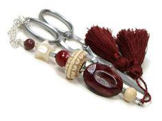 Red Brown Handmade Scissor Fob Beaded Scissor Minder by TJBdesigns
