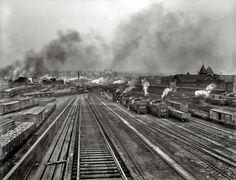 "Scranton, Pennsylvania, circa 1900. (Now 'Steamtown National Historic Site'). Delaware, Lackawanna and Western R.R. yards.""Old King Coal  Scranton, Pennsylvania, circa 1900. ""Delaware, Lackawanna and Western R.R. yards."""