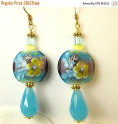 45%OffSALE Aqua Crystal Teardrop wth Lampwork bead dangle earrings, aqua earrings, crystal earrings, gold earrings, flower earrings, lampwor by beadwizzard on Etsy https://www.etsy.com/listing/488351951/45offsale-aqua-crystal-teardrop-wth