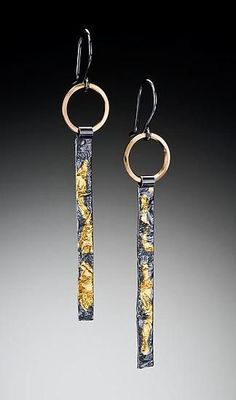 Reticulated Sticks: Suzanne Q Evon: Gold & Silver Earrings - Artful Home