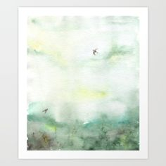 painting  watercolor  abstract  illustration   watercolor  abstract,  landscape  green   bird  minimal  interior  fog   trees