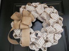 Natural and White  Chevron Burlap Wreath